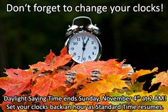 Daylight Saving Time ends this Sunday, November 4th at 2:00AM. Don't forget to set your clocks back an hour!