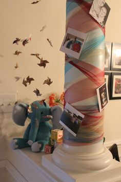 First birthday party decorations: pinwheels and elephants DIY