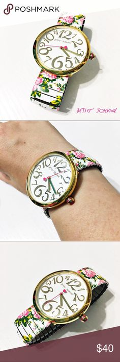 NEW Betsey Johnson Floral Stretch Watch This beautiful watch from Betsey Johnson is new without original packaging. I took it off to take the pictures, but it still has the clear protective film over the face and back. Don't forget to remove them once it arrives! I just put in a fresh Energizer battery and it works fabulously. Questions? Please ask. Sorry, no trades. Bundle for a discount! All photos are taken by me of the actual item for sale. Please do not use photos without permission…
