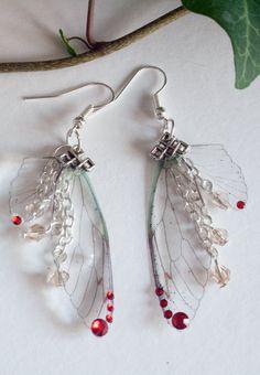 Fairy wings earrings. Fairy earrings. Fantasy earrings. Butterfly wings earrings. Butterfly earrings. Red wings jewelry. Fairy jewelry