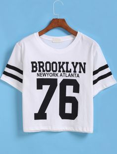 White Short Sleeve BROOKLYN 76 Print Number Comfort Racewear Monogrammed Crop T-Shirt