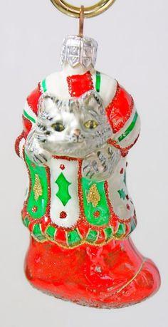 Vintage Slavic Treasures Grey Cat Stocking Blown Glass Christmas Ornament Retire
