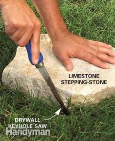 Stepping-stone paths.    Trace the stone    Place the flagstone where you want it, then cut the outline in the grass.  Remove the stone, then remove the sod and replace the stone.  Sounds simple enough...