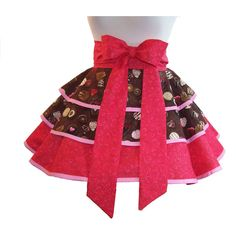 Valentine Half Apron, Chocolate Candy Apron, Womens Aprons Retro ($45) ❤  Liked