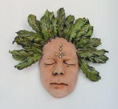 Green Man mask a celebration of Nature Ceramic sculpture Mask