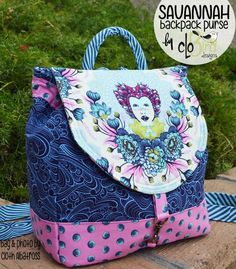 Savannah Backpack Purse PDF Sewing Pattern ~ by CloBird Designs Backpack Pattern, Backpack Purse, Backpack Tutorial, Tula Pink Fabric, Pdf Sewing Patterns, Quilting Patterns, Purse Patterns Free, Handbag Patterns, Bag Patterns To Sew