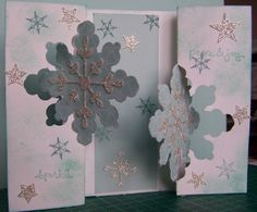 Snowflake Thinlite fold card doubled