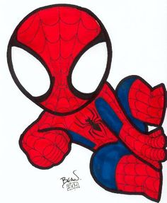 Chibi-Spider-Man by hedbonstudios on deviantart kawaii cute spiderman, m Spiderman Chibi, Baby Spiderman, Spiderman Drawing, Baby Superhero, Marvel Baby, Amazing Spider, Marvel Characters, Cartoon Art, Cute Drawings