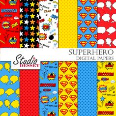 Superhero Digital Papers, Superman Comics, Super Hero, Stars, Polka Dot Cartoons, Comic Book, Action Words, Scrapbooking A357 by StudioDesset on Etsy