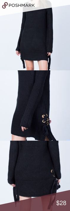 Black chunky sweater dress Such a cozy and cute piece with side lace up detailing. This would fit a medium as well. Used but in good condition Tops Sweatshirts & Hoodies