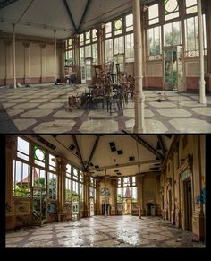 A breathtaking palace turned into school in Spain. Before and after it got robbed and trashed by vandals :( :(