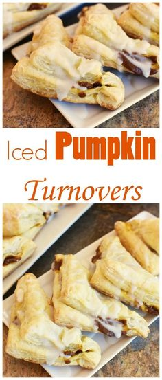 Iced Pumpkin Turnovers made with Puff Pastry right at home! Iced Pumpkin Turnovers made with Puff Pastry right at home! Iced Pumpkin Turnovers made with Puff Pastry right at home! Puff Pastry Desserts, Frozen Puff Pastry, Puff Pastry Recipes, Köstliche Desserts, Delicious Desserts, Dessert Recipes, Yummy Food, Puff Pastries, Vegan Pumpkin