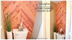DIY Home Decor: Cedar Planked Herrinbone Bathroom Wall Stick On Wood Wall, Peel And Stick Wood, Interior Wood Plank Walls, Bathroom Wall, Bathroom Ideas, Small Bathroom, Bathrooms, Bathroom Makeovers, Cedar Walls