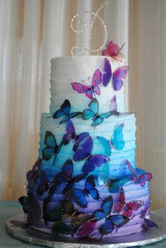 Creative Cakes by Monica - Wedding Cake - Springtown, TX - WeddingWire Sweet Sixteen Cakes, Sweet 16 Cakes, Quinceanera Cakes, Quinceanera Decorations, Crazy Wedding Cakes, Wedding Cakes With Cupcakes, Butterfly Cakes, Cake With Butterflies, Butterfly Birthday Cakes