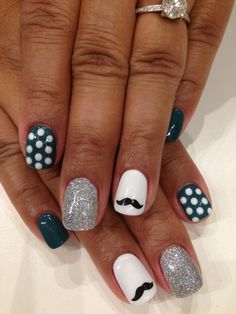 Movember nails in Bio Sculpture Gel colours: #3 - Snow White & colour mixing with #134 - Aquacade/#182 - Free Lovin' (Folk Collection) Moustache done with Bundle Monster stamping template. Silver loose glitter packed on and white polka dots