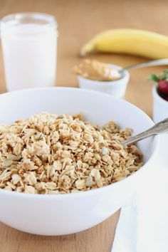 Peanut Butter Granola - Review: incredibly addictive and delicious. Calls for quite a bit of sugar and I found myself needing to add more and more water and pb. Next time? Use a liquid like sweetener (I.e. honey/agave nectar) and use less of it!