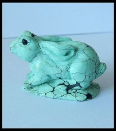 56 Ct Matte Turquoise Bunny Rabbit Gemstone Hand Carving  Turqouise gemstone carvings,hand arved and well polished gemstone carvings from Gemrockauctions