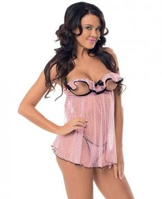 Flutter Open Cup Babydoll Black Trim & Panty Pink O/S Delightful Flutter Cup Babydoll. Flirty teasing flutter cup pink baby doll with black trim and bow. Matching black trimmed pink g string panty. Escante Lingerie Boxed Collection. One size. Sizes 2-14. Cups B to C. Bust 32 inches to 38 inches. Waist 24 inches to 32 inches. Hips 34 inches to 40 inches. Weighing between 90 pounds to 160 pounds.