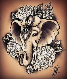 Lower Back Tattoo Designs Are Unique and Sexy Neue Tattoos, Body Art Tattoos, Small Tattoos, Sleeve Tattoos, Cool Tattoos, Tatoos, Elephant Head Tattoo, Elephant Tattoo Design, Colorful Elephant Tattoo