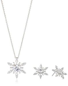 "Sterling Silver Cubic Zirconia Snowflake Pendant Necklace and Earrings Jewelry Set. Necklace: 18""L x 0.66""H x 0.66""W; Earrings: 0.46""H x 0.46""W. Set of pendant necklace and earrings. Imported."
