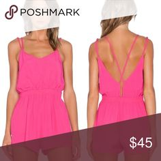 """MINKPINK Vacation cross back playsuit Details - V-neck - Sleeveless - Crisscross back detail - Smocked elasticized waist - Approx. 18"""" rise, 2"""" inseam - Imported Fiber Content 100% viscose Care Hand wash Additional Info Fit: this style fits true to size MINKPINK Pants Jumpsuits & Rompers"""