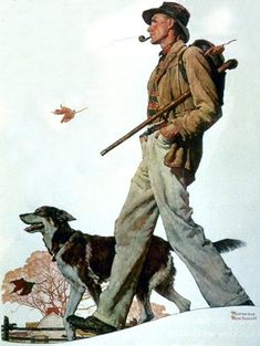 """Pipe"" by Norman Rockwell, Style: Regionalism ・ Genre: genre painting"