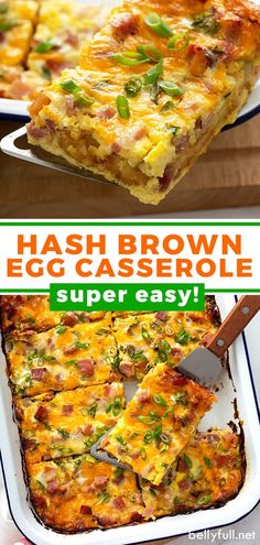 Frozen hash brown patties, eggs, cheese, and ham make this hash brown egg casserole so quick and easy! Prepare it the same morning or the night before. Perfect use for leftover holiday ham or swap it out for sausage instead. Great recipe for breakfast, brunch, or dinner! Hash Brown Egg Casserole, Easy Egg Casserole, Casserole Recipes, Casserole Dishes, Best Breakfast Recipes, Make Ahead Breakfast, Brunch Recipes, Breakfast Ideas, Brunch Ideas
