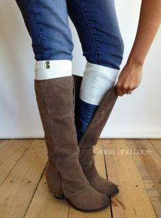 Pebble Knit Boot Cuff - OFFWHITE button boot cuff - knit boot topper faux legwarmers sock tops with metal buttons- leg warmers boot warmers