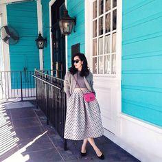 Polka Dot full skirt & Chanel Bag