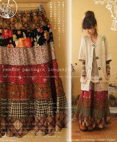 Cute long patchwork skirt