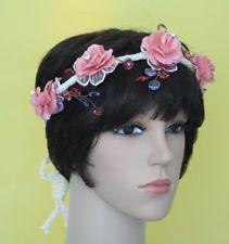 Pink Flower Vintage Headband Handmade With Flowers ,Beads And Lace Vintage Headbands, Headbands For Women, Flower Vintage, Pink Flowers, Vintage Ladies, Crown, Beads, Lace, Handmade