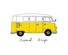 Volkswagen Bus 8x10 Illustration Print by CocoDraws | Cute art to hang on a wall surrounded by travel photos #kombilove