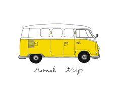 Volkswagen Bus - 8 x 10 Illustration Print, Art numérique