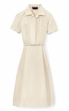 Shop Faille Shirtdress With Belt by Rochas Now Available on Moda Operandi
