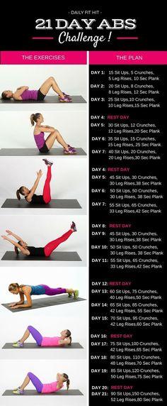 21 Day Abs Challenge - #workout #AbChallenge Images Source: http://popsugar.com