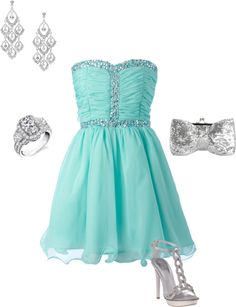 """""""Silver & Turquoise night out"""" by melw0929 on Polyvore"""