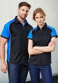 The Men's Nitro Shirt is made with the blend of polyester, cotton twill fabric. The shirt has contrast panels on the shoulders and the sides along with piping details and side split. This men's shirt has a concealed placket and jet pocket. Hi Vis Workwear, Safety Workwear, Corporate Shirts, Corporate Wear, S Shirt, Tee Shirts, Brand Collection, Cotton Twill Fabric, Work Wear