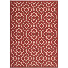 Safavieh Indoor/ Outdoor Courtyard Contemporary Red/ Bone Rug (5'3'' x 7'7'')
