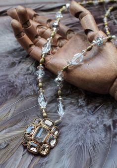 Rutilated quartz mini-pendant necklace with champagne crystal glass rhinestones (N-2754)