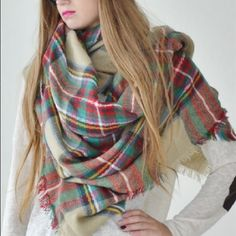 "Plaid blanket scarf DO NOT buy this listing, comment below to make sure its still available and I will make you a personal listing   Oversized plaid Blanket Scarf Measures 54"" x 54"" TK11282 2 a T Boutique  Accessories Scarves & Wraps"