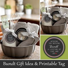 Bundt Pan Gift Idea and Printable Tag Theme Baskets, Themed Gift Baskets, Diy Gift Baskets, Raffle Baskets, Boyfriend Gift Basket, Boyfriend Gifts, Christmas Wishes Quotes, Nothing Bundt, Silent Auction Baskets