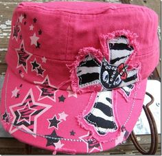 Bling cap - Pink zebra cross Junior cap $15 + shipping