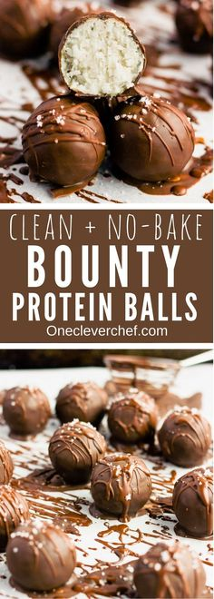 These chocolate covered protein bounty balls are a healthy, homemade version of the classic candy bar. Made of only 6 simple ingredients, these easy to make protein balls are the perfect post-workout treat. This no-bake recipe is also paleo, vegan, gluten-free, flourless, dairy-free and… guilt-free! | onecleverchef.com #paleo #vegan #glutenfree #postworkout #protein #healthy #treat #cleaneating