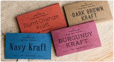 Colored Kraft business cards.  WOW.  I need this print shop to move near me NOWWWW.