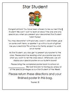 Creative Lesson Cafe: Star Student~ All About Me Posters! FREEBIE parent letter