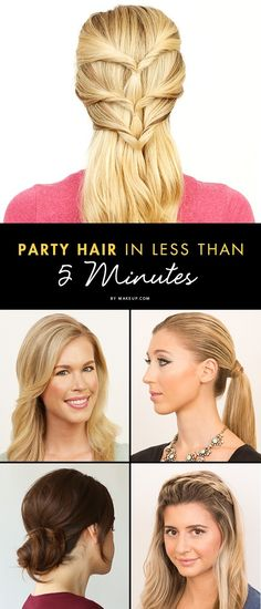 Party Hair in Less Than 5 Minutes #hairstyles