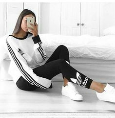Black and white adidas outfit