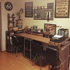 Rustic Home Offices, Diy Interior, Office Desk, Corner Desk, The Good Place, Room Decor, House Design, Cool Stuff, Furniture