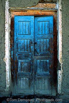 Blue door in Huaraz, Peru