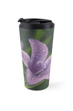 """Purple lily flower"" Travel Mug by Savousepate on Redbubble #travelmug #mug #painting #art #lilyflower #dew #purple #mauve"